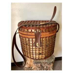 Wicker & Bamboo Fishing Creel Style Picnic Basket